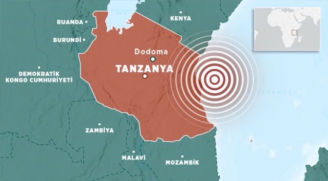 Doğu Afrika ülkesi Tanzanya'da 6 büyüklüğünde deprem