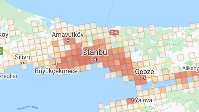 İşte, uygulamaya göre İstanbul'un vaka yoğunluk haritası