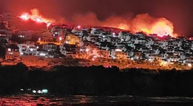 İzmir'in Karaburun ilçesinde makilik alanda yangın